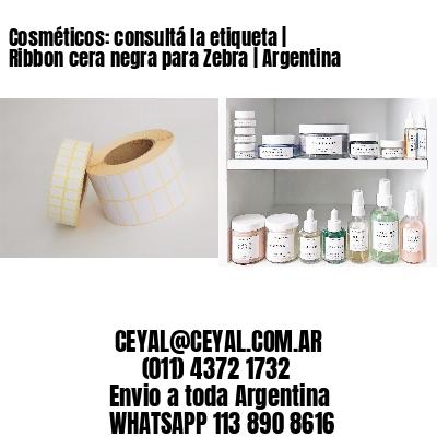 Cosméticos: consultá la etiqueta | Ribbon cera negra para Zebra | Argentina
