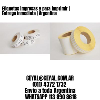 Etiquetas impresas y para imprimir   Entrega inmediata   Argentina