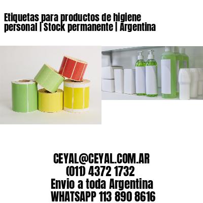 Etiquetas para productos de higiene personal   Stock permanente   Argentina